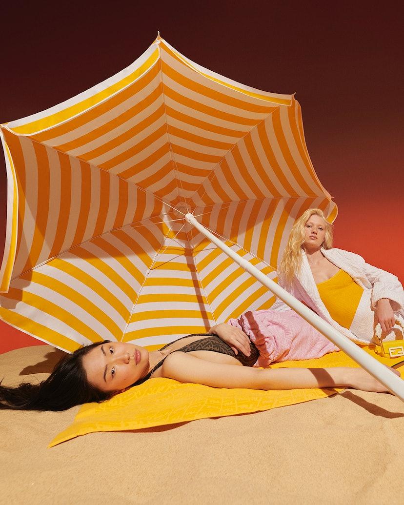 Model from Fendi's Beachwear Capsule campaign.