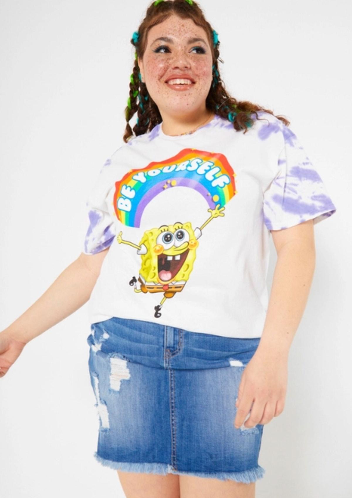 Plus Purple Tie Dye SpongeBob Be Yourself Graphic Tee