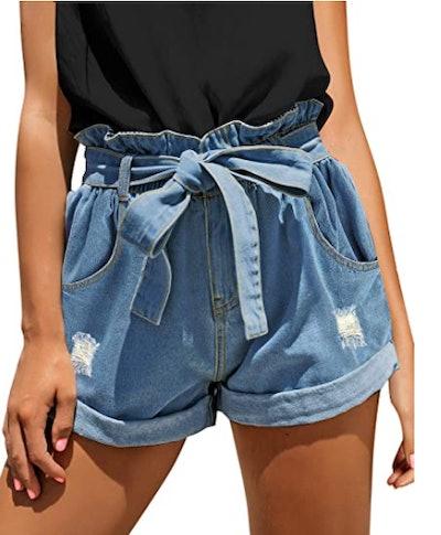 GRAPENT High Waisted Jean Shorts