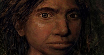 This image shows a portrait of a juvenile female Denisovan based on a skeletal profile reconstructed...