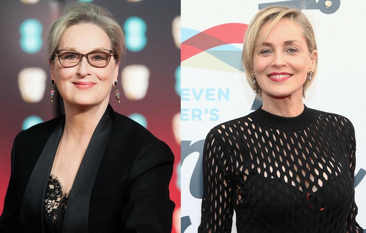 Meryl Streep and Sharon Stone smiling