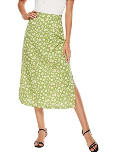LYANER Side Split Midi Skirt