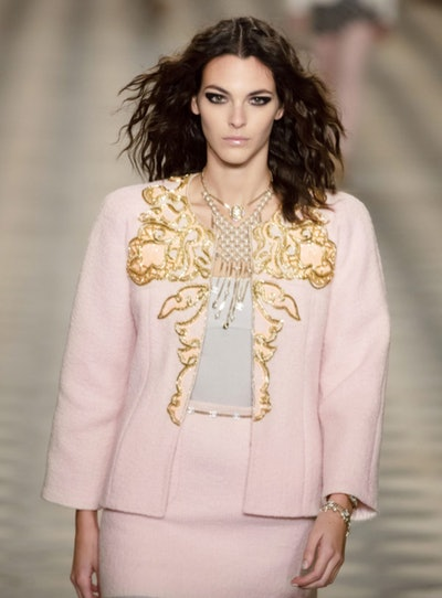 Embroidered Wool Tweed Light Pink & Gold