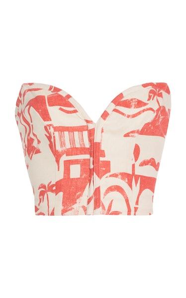 Rilynn Printed Woven-Hemp Strapless Top