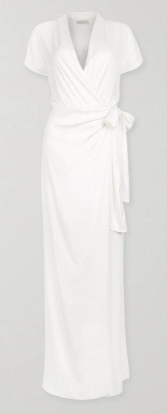 The Lady Draped Matte-Satin Wrap Gown