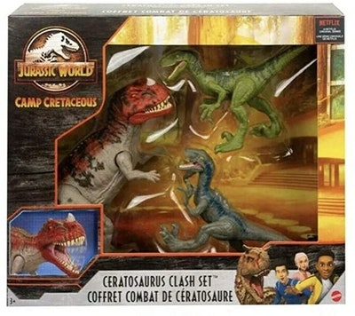 Jurassic World Camp Cretaceous Isla Nublar Ceratosaurus Clash Set with Ceratosaurus and 2 Velocirapt...