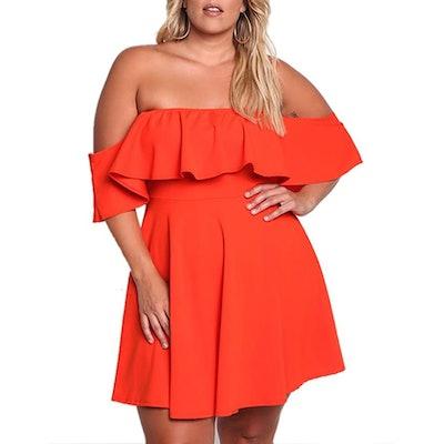 ROSIANNA Plus Size Off Shoulder Ruffle Mini Dress