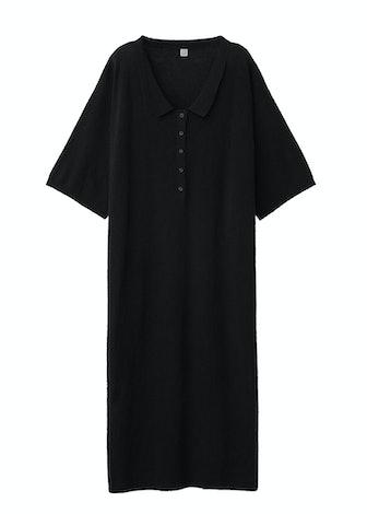 Collared V-neck Cotton-Blend Terry Midi Dress