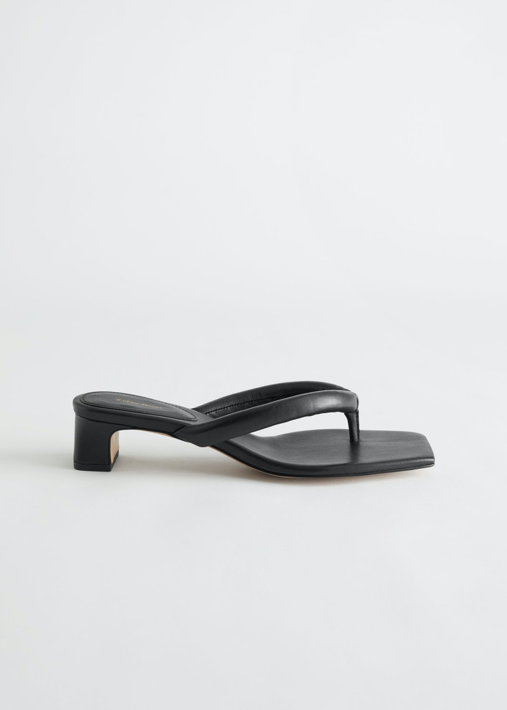 Thong Strap Heeled Leather Sandals