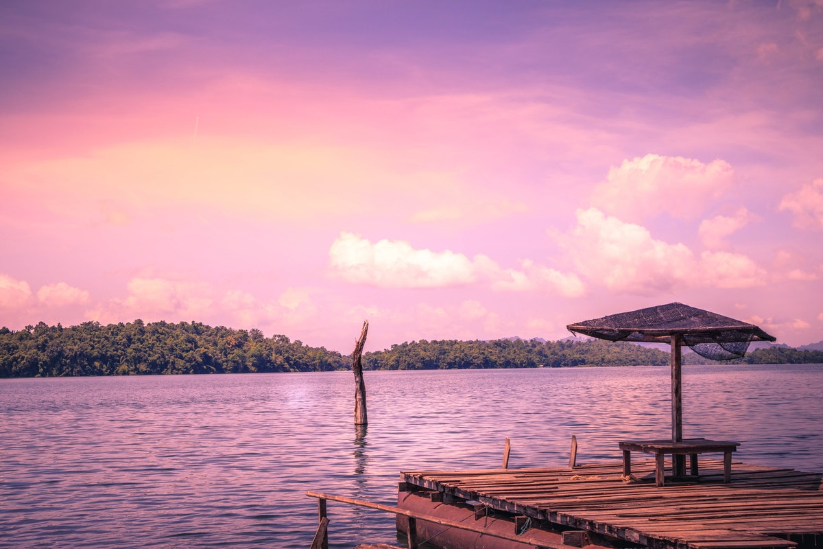 Sunset at a lake, which you can post on Instagram with a pink sky caption.