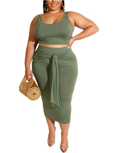 IyMoo Plus Size 2 Piece Skirt and Tank Top Set