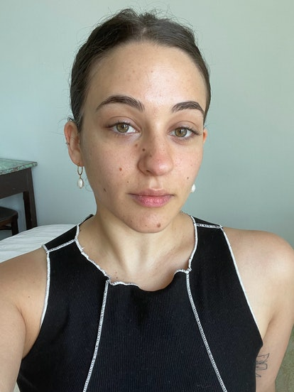 Isabella's bare skin after using this product for four weeks.