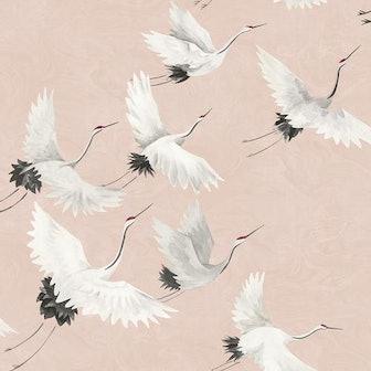 Windsong Pink Crane Wallpaper