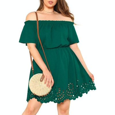Romwe Plus Size Off The Shoulder Scallop Hem Dress