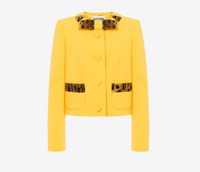 Leopard Print Detail Crépe Jacket