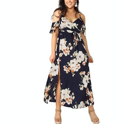 Milumia Plus Size Cold Shoulder Floral Maxi Dress