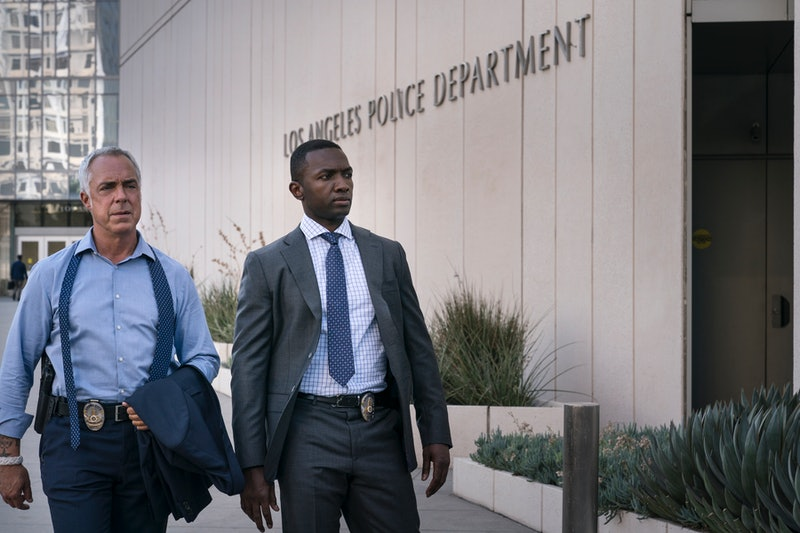 Titus Welliver as Detective Harry Bosch and Jamie Hector as Detective Jerry Edgar in 'Bosch' Season ...