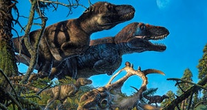 Nanuqsaurus -- a large biped dinosaur -- illustrated with its young