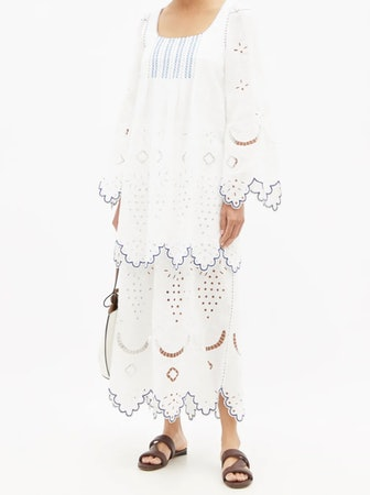 Florence broderie-anglaise linen voile dress