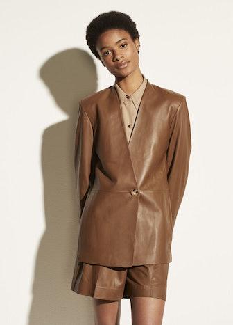 Leather Collarless Blazer