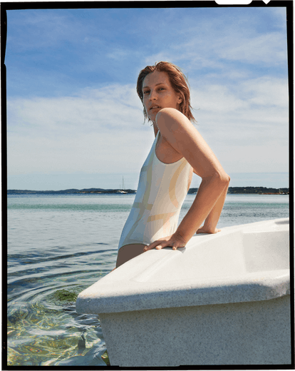 Model from Totême's 2021 beachwear capsule collection.