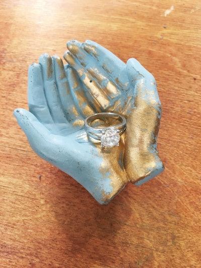 Gilded Blue Concrete Hands