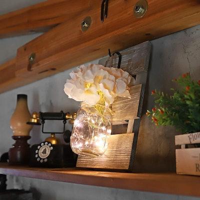 HOMKO Mason Jar Wall Decor with LED Lights and Flowers (2-Piece)