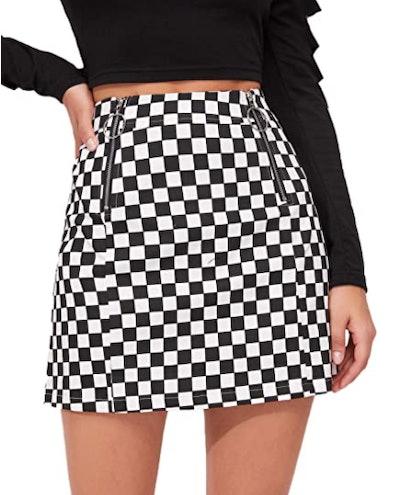 WDIRARA O-Ring Zipper Mini Skirt