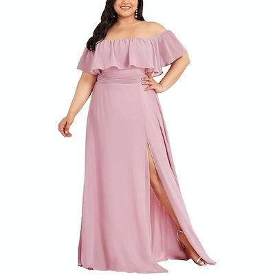 Ever-Pretty Plus Size Off Shoulder Chiffon Maxi Dress
