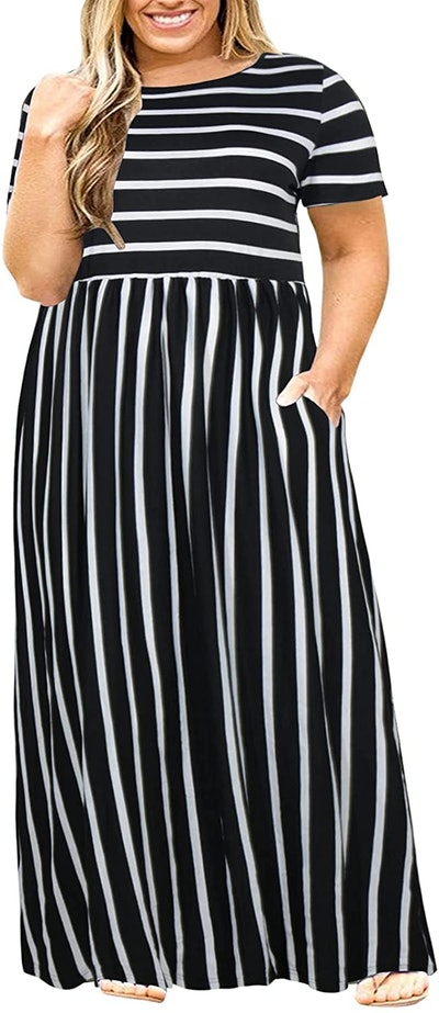 Nemidor Plus Size Maxi Dress With Pockets