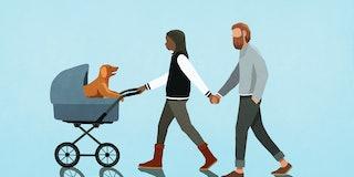 human parent pushing dog in baby stroller