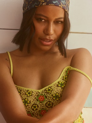 A closeup of 'Zola' star Taylour Paige posing for Bustle's cover.