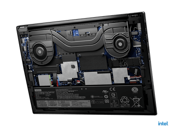 Underside view of Lenovo Thinkpad X1 Extreme Gen 4 laptop cooling system