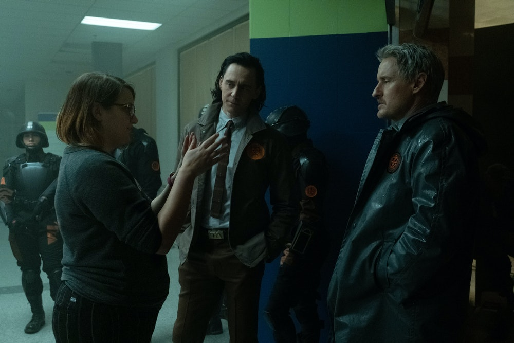Director Kate Herron on the set of Loki.