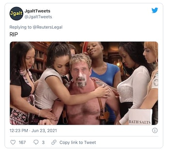 Software mogul John McAfee was reportedly found dead in a Spanish prison cell.