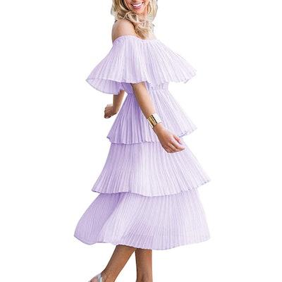 ETCYY Off The Shoulder Ruffled Chiffon Dress