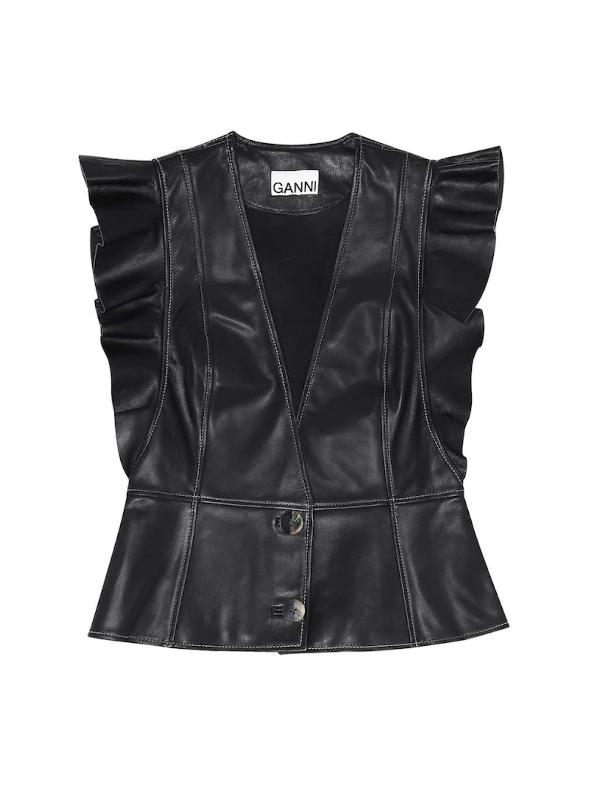 Ruffled Leather Vestt
