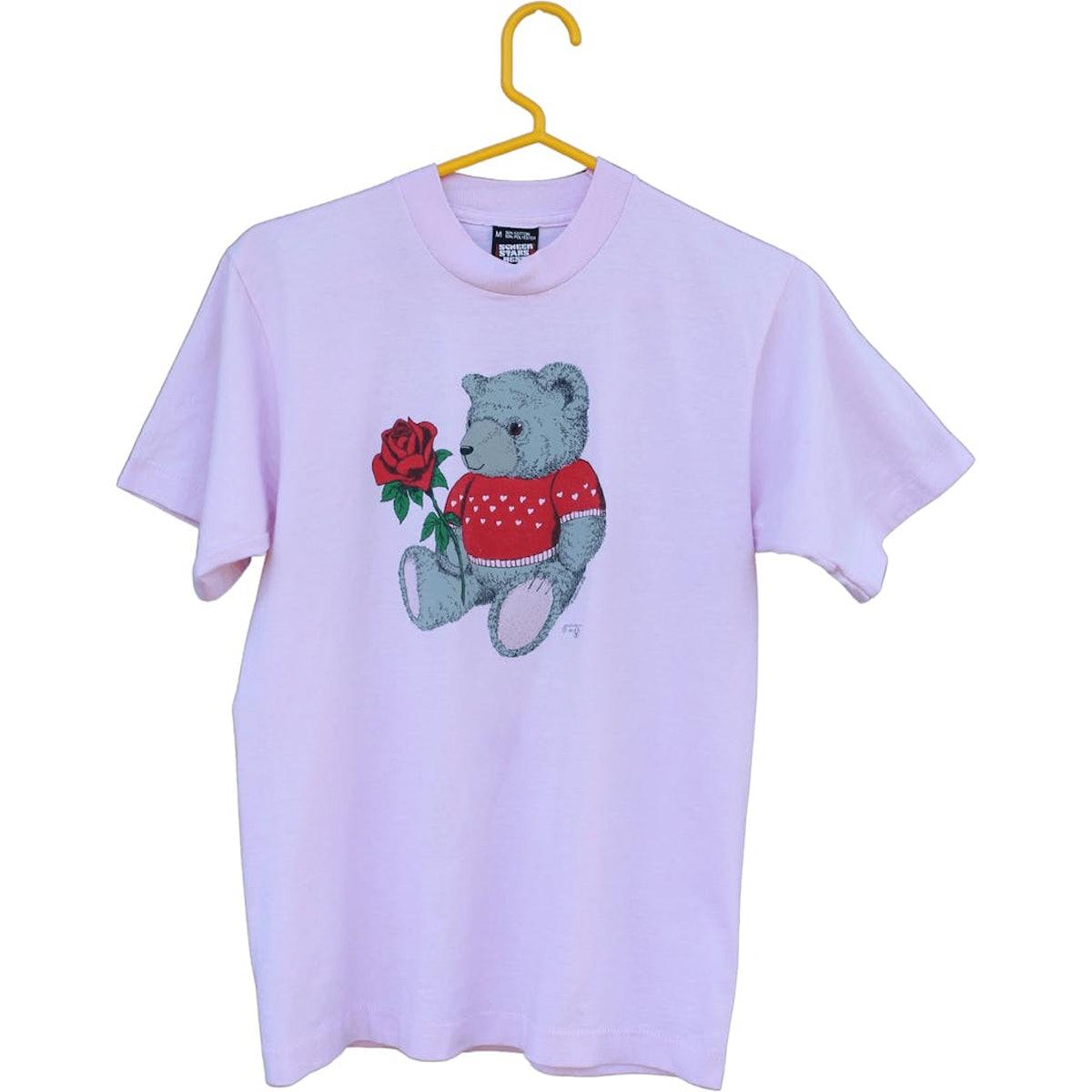 80's I Love You Bear Single Stitch Graphic T-Shirt