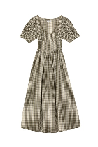 Kennedy Dress in Olive Gingham