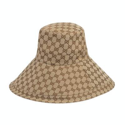 Gucci Beige Canvas GG Wide Brim Hat
