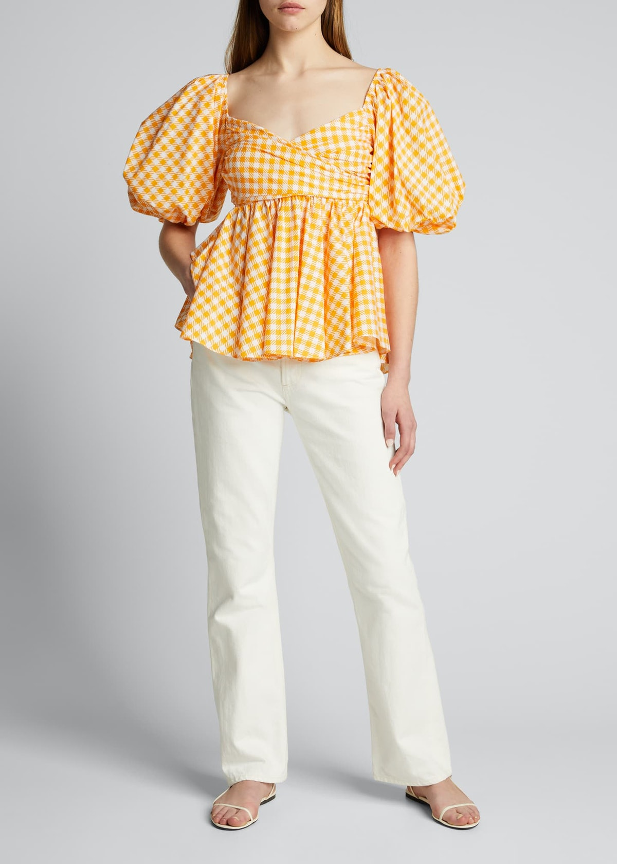 Brie Gingham Puff-Sleeve Top