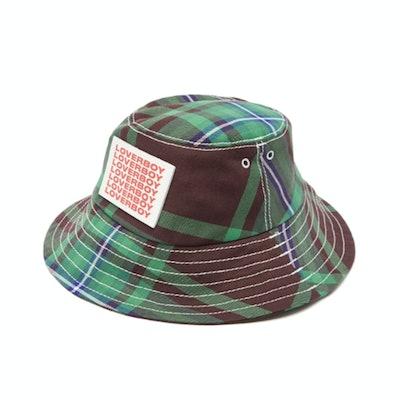 Charles Jeffrey Loverboy Logo-Patch Tartan Twill Bucket Hat
