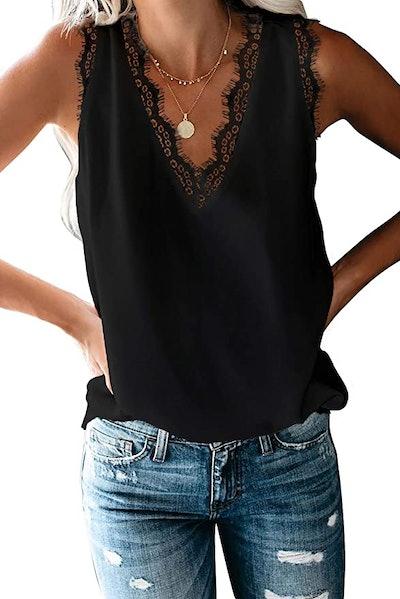 BLENCOT Women's V Neck Lace Trim Tank Top
