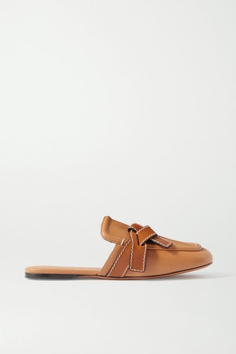 Gate Two-Tone Topstitched Leather Loafers