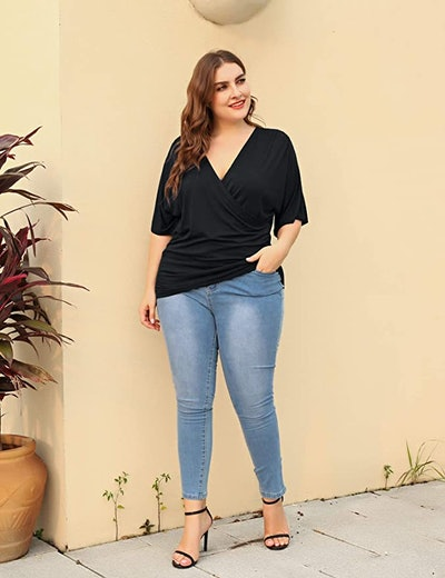 IN'VOLAND Womens Plus Size Wrap Top