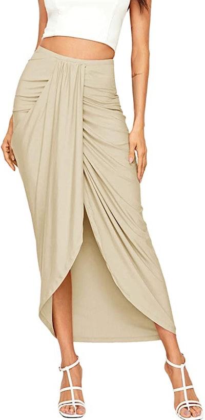 SheIn Women's Casual Slit Wrap Skirt