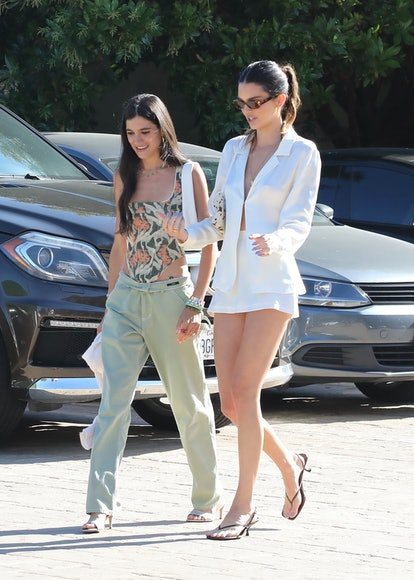 Kendall Jenner out for lunch in Little Beach House, Malibu with her friend on June 23, 2021, wearing...