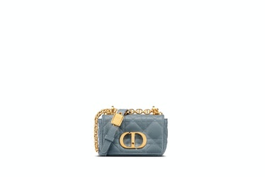 Micro Dior Caro Bag In Cloud Blue Supple Cannage Calfskin
