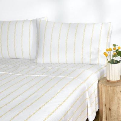 Floral Pinstripe Sheet Set, Queen