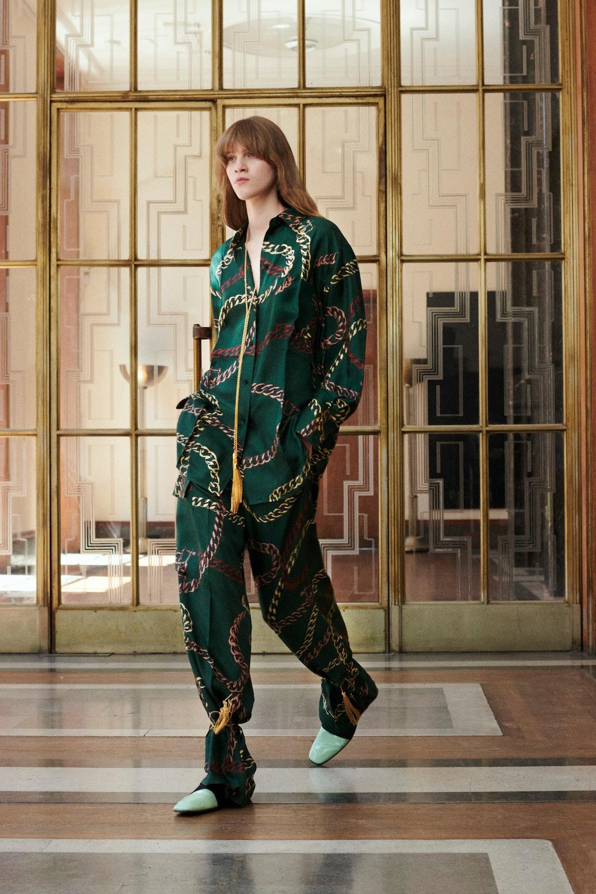Model in printed pajama set